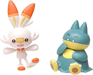 """New Pokemon Sword and Shield Battle Action Figure 2 Pack - Munchlax and Scorbunny 2"""" Figures"""