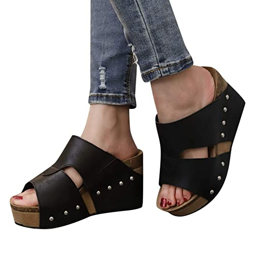 7e012c1d7 Women Rivet Sandals Clearance Sale, NDGDA Boho Casual Wedges Shoes Thick  Bottom Slipper