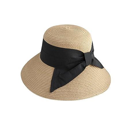 YXINY Viseras Sombrero De Paja Grande del Arco-Nudo De La Mujer Dulce Y  Elegante 3436c118117
