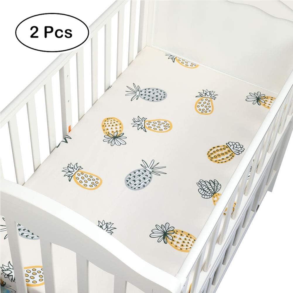 Bebé tejida arroz instalado sábanas 100% algodón precioso cama patrón Newborn Crib Sheet colchón protector de la cubierta (130 x 70 x 6 cm),Pineapple: Amazon.es: Hogar