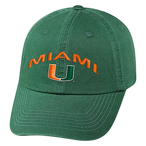 World Miami Hurricanes Green - Top of the World Miami Hurricanes Men's Hat Arch, Green, Adjustable
