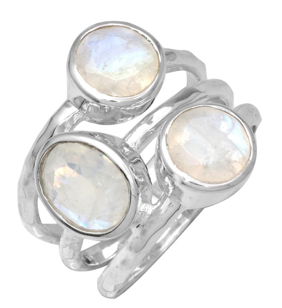YoTreasure Rainbow Moon Stone 925 Sterling Silver Rings Silver Jewelry