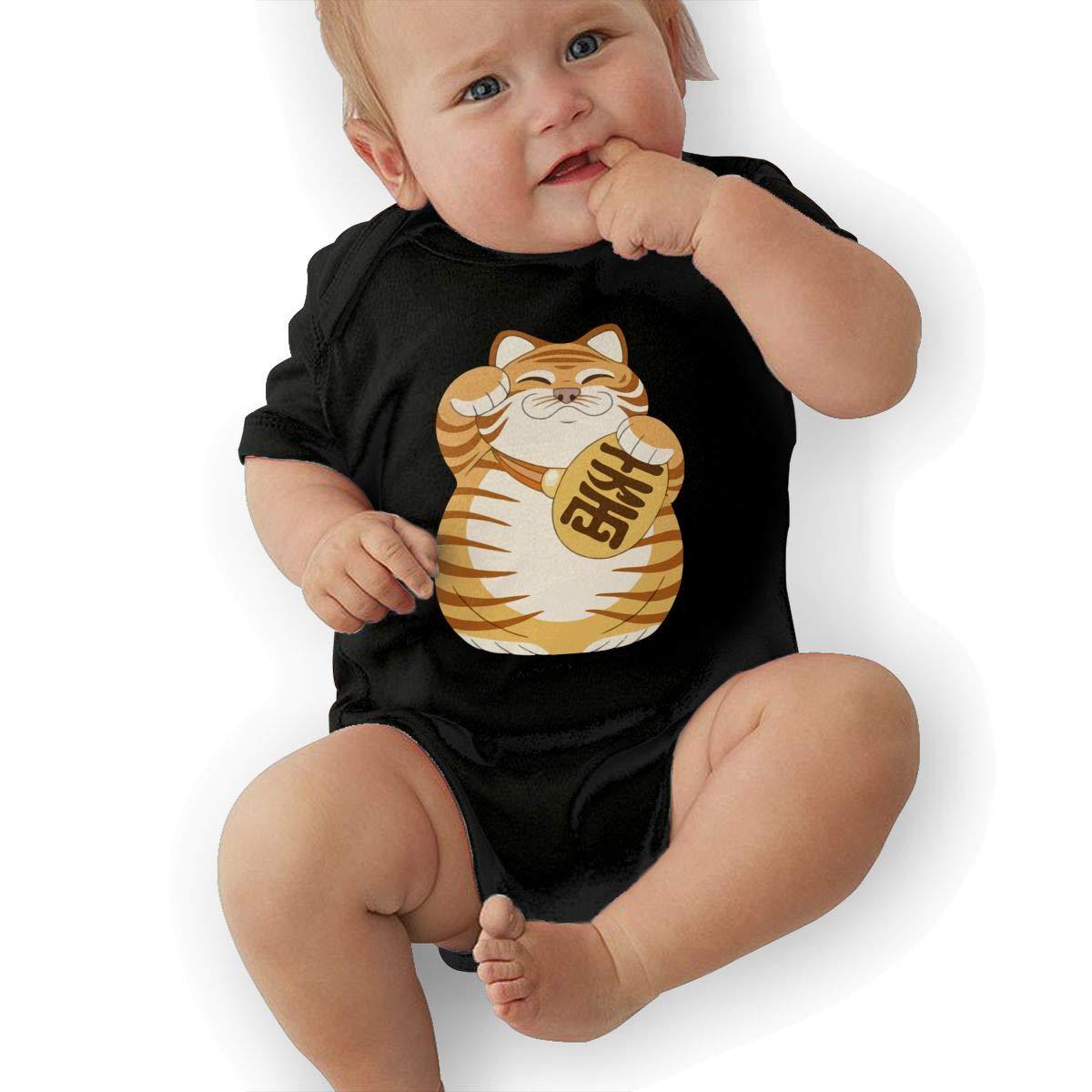 BONLOR Cute FortuneTiger Baby Boys Girls Jumpsuit Overall Romper Bodysuit Summer Clothes Black