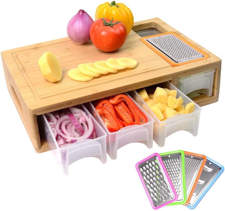 Bamboo Cutting Board with Containers, Lids, and Graters, Large Wood Chopping Board with Stackable Trays, Vegetable Shredders, and Food Dropping Zone, Carving Board with Easy-grip Handle, Juice Groove