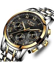 LIGE Herren Uhren Sport Wasserdicht Edelstahl Analoger Quarz Uhr Lässig Chronograph Kalender Armbanduhr Maenner