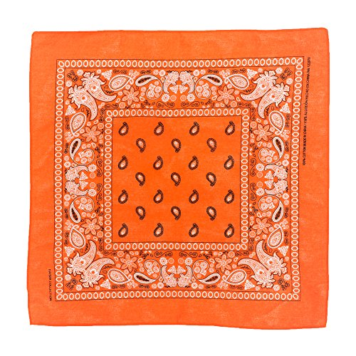 Novelty Scarf Bandanas Paisley Cotton Bandanas Head Wrap Wristband Single Pack (Orange)