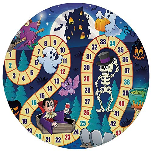 (WEWELA Round Rug Mat Carpet,Board Game,Halloween Theme Symbols Happy Witch Girl Vampire Ghost Pumpkins Happy Comic,Multicolor,Flannel Microfiber Non-Slip Soft Absorbent,for Kitchen Floor)