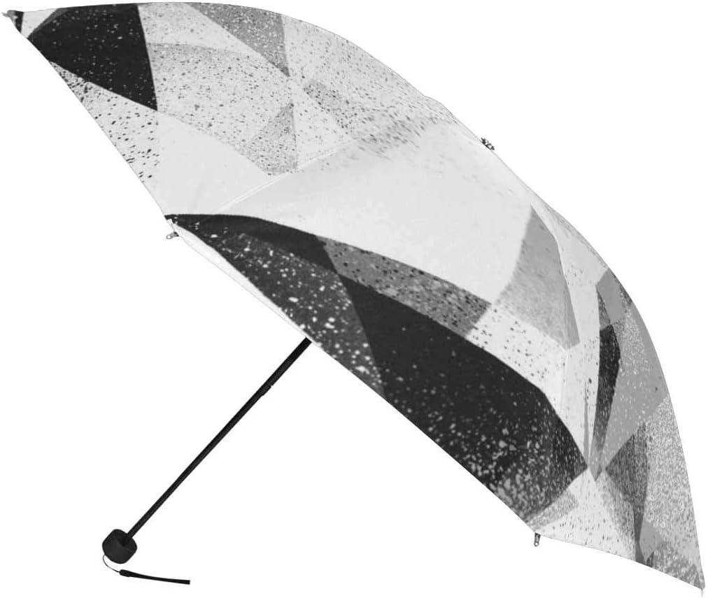 InterestPrint Custom Grunge Grey Geometric Anti Sun UV Foldable Travel Compact Umbrella