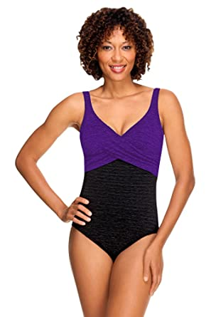 51d8f67b50ae8 Krinkle Color Block Twist Front Chlorine Resistant Swimsuit Acai 8 Purple