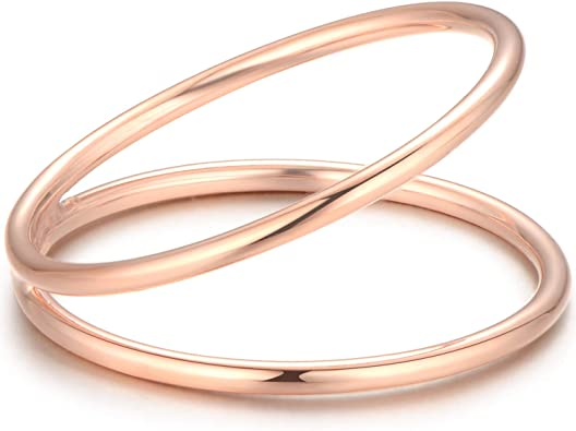 Gold Plated Half Twisted Band Ring Handmade 925 Silver Minimal Stack Ring