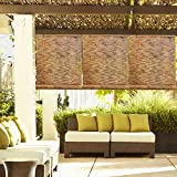 Hand Loomed Design Bamboo Reed Blind Rollup Window Shade, 48
