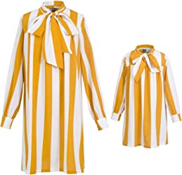 42aca5b0 PopReal Mommy and Me Long Sleeve Stripes Self Tie Matching Shirt Dress