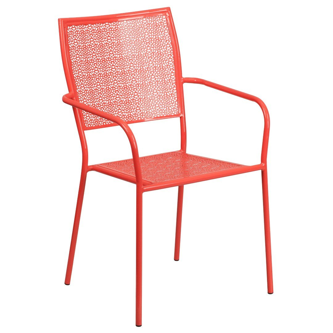 MFO Coral Indoor-Outdoor Steel Patio Arm Chair with Square Back