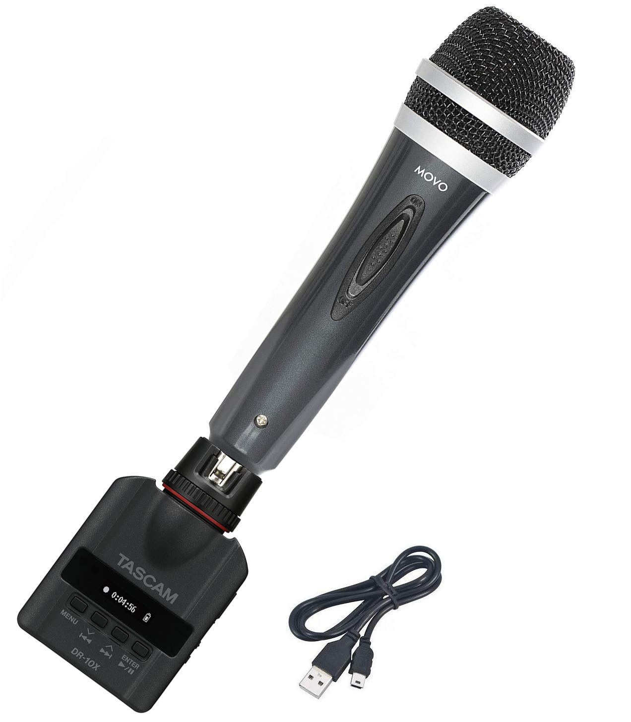 Tascam DR-10X Plug-On Micro Linear PCM Recorder Bundle with Movo Dynamic XLR Cardioid Handheld Vocal Microphone