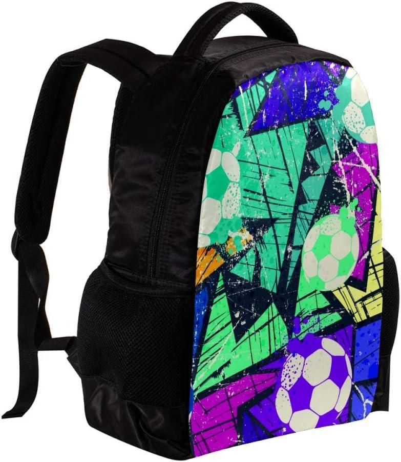 MAPOLO Hand Drawn Colorful Football School Backpack Travel Bag Rucksack College Bookbag Travel Laptop Bag Daypack Bag for Men Women