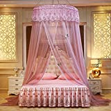 WLHOPE Mosquito Net Canopy Ceiling Stylish Lace Princess Butterfly Dome Mosquito Net Diameter 1.2M Bed Cotton Cloth Tent Baby Kids Indoor Reading Play Games House Anti-Mosquito Insect Nett (Bean Sand)