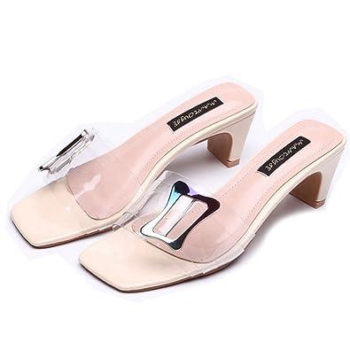 4501c4e38829 GIY Women s Peep Toe Slip On Mid Block Heels Slide Sandals Summer Loafer  Flats Comfortable Lazy