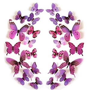 JYPHM 24PCS Butterfly Wall Decal Mural Stickers Removable Refrigerator Butterfly Wall Stickers 3D Wall Stickers for Kids Home Room Nursery DIY Decoration Wall Art Purple