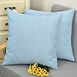 NATUS WEAVER Decor Lined Linen Soft Square Throw Pillow Case Sham Cushion Cover for Living Room/Floor, 18 x 18 inches,Light Blue, 2 Pieces