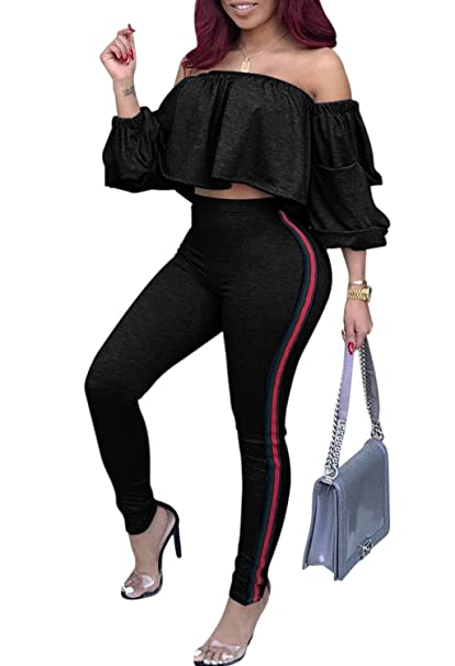 2895ac3d5719 Image Unavailable. Image not available for. Color  Voghtic Women s Sexy Off  Shoulder Ruffle Crop Tops and Pants 2 Pieces Outfits Jumpsuit