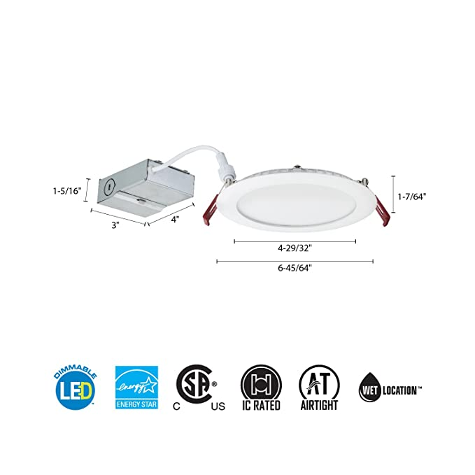 Lithonia Lighting MVOLT Wf6 Led 30K Molt Mw M6 Dimmable Recessed Ceiling Light 3000K White - - Amazon.com