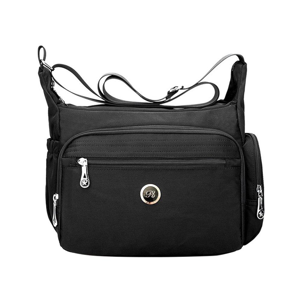 Black Fabuxry Crossbody Handbag for Women Organize Pack Shoulder Bag Messenger Purses