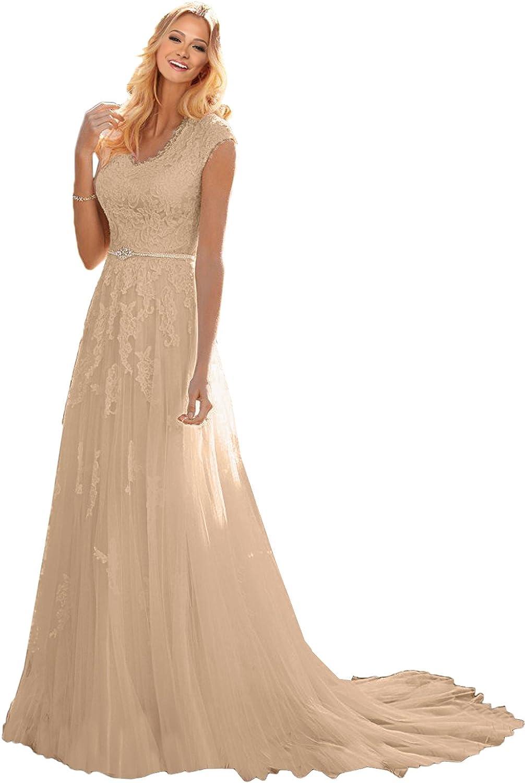 MILANO BRIDE Grace Princess V-Neck Floral Lace Wedding Dress for Bride
