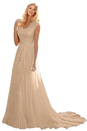 8d7e777142 MILANO BRIDE Grace Princess V-Neck Floral Lace Wedding Dress for Bride Cheap -2