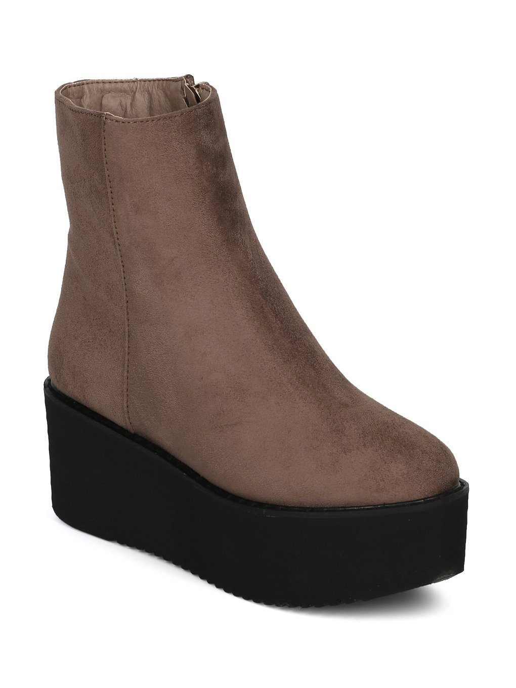 Indulge Hebe-I Women Round Toe Platform Creeper Ankle Bootie HE66 - Taupe Faux Suede (Size: 7.0) by Indulge (Image #7)