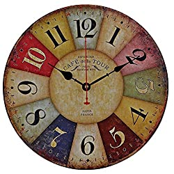 Old Oak Large Decorative Wall Clock Vintage Silent Non-Ticking Battery Operated Colorful Wooden Round for Living Room Kitchen Bathroom Bedroom Wall Decor with Big Arabic Numerals 14-Inch