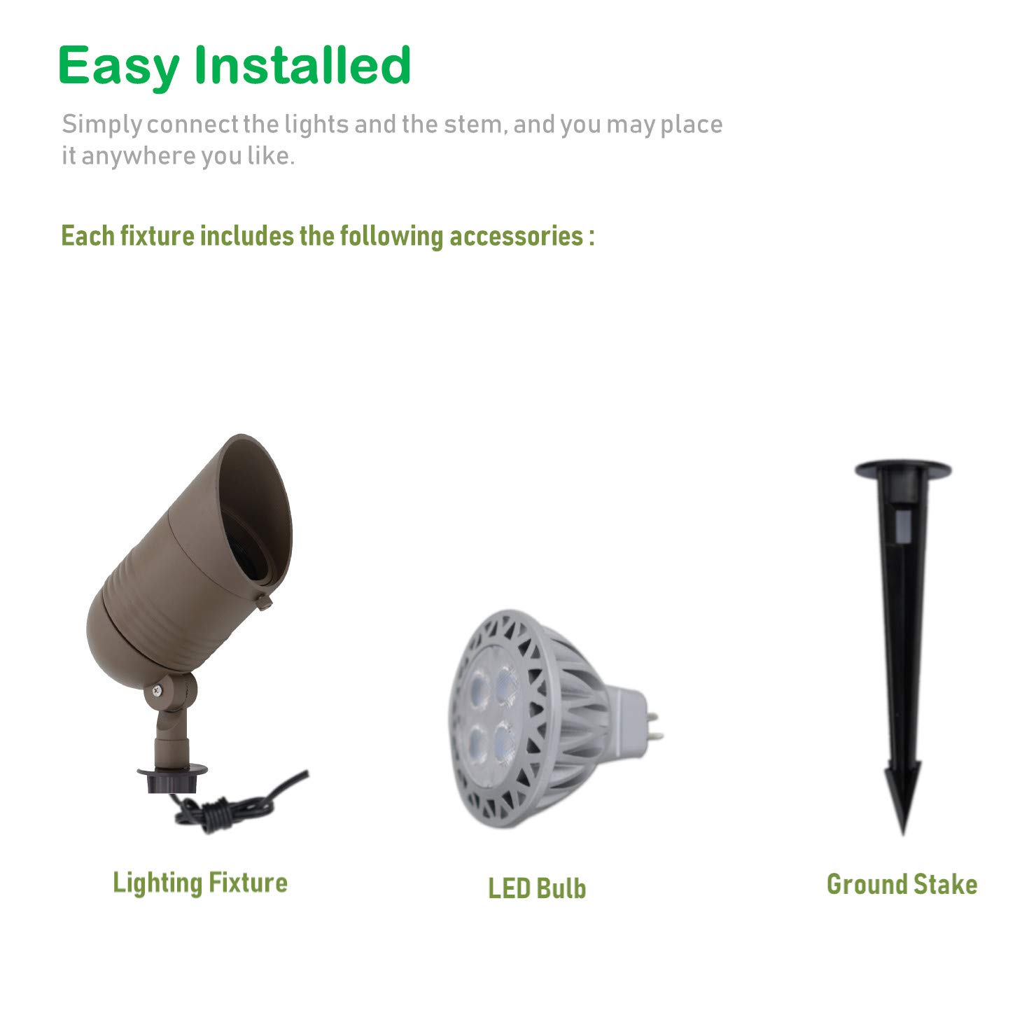 Lumina Low Voltage Landscape Lights Cast-Aluminum Waterproof Outdoor Spotlights for Walls Trees Flags Decorative Light W/Warm White 5W LED Bulb and ABS Ground Stake SFL0106-BZLED4 (4PK) by Lumina Lighting (Image #2)
