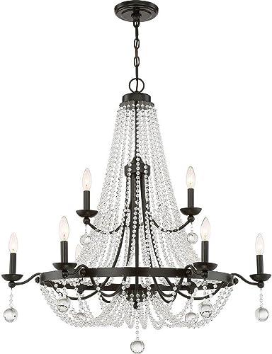 Quoizel LVY5009WT Livery Glass Drop Beads Chandelier, 9-Light, 540 Watts, Western Bronze 37 H x 36 W