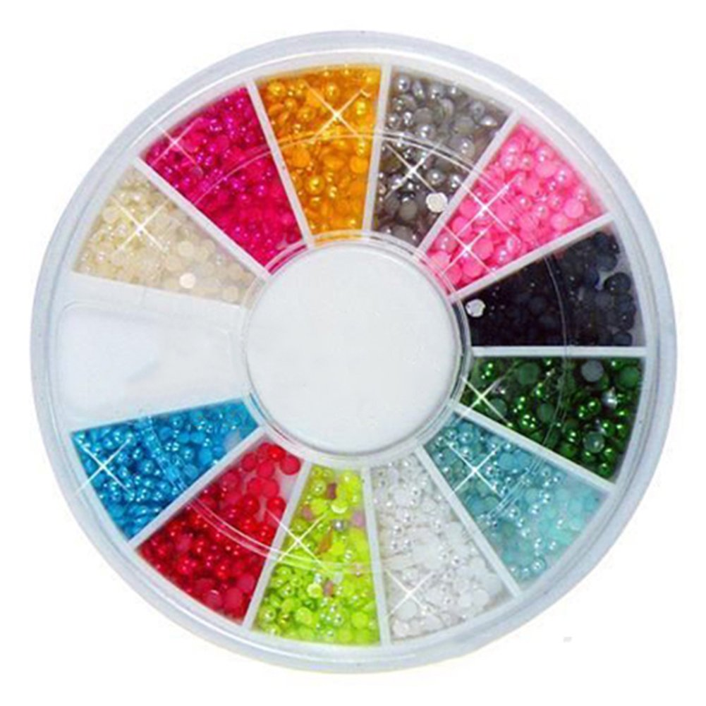 500pcs Nail Art Decoration Half Round Pearls Rhinestones 12 Colors Wheel 2mm (Random Colors) Broadfashion