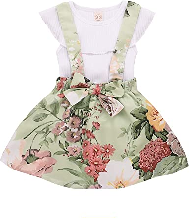 Toddler Baby Girl Sleeveless Solid Ruffles Tops Floral Overall Skirt Outfits Set