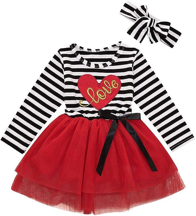 Vectry Vestidos Niñas Bebés San Valentín Vestido De Tul Estampado ...