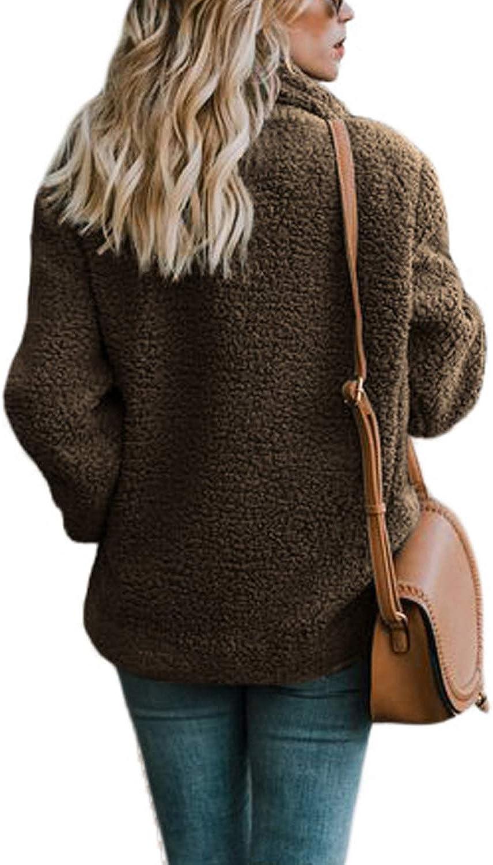Aleumdr Femmes Mode Polaire Open Front Manteau avec Poches Extérieur Coffee 1