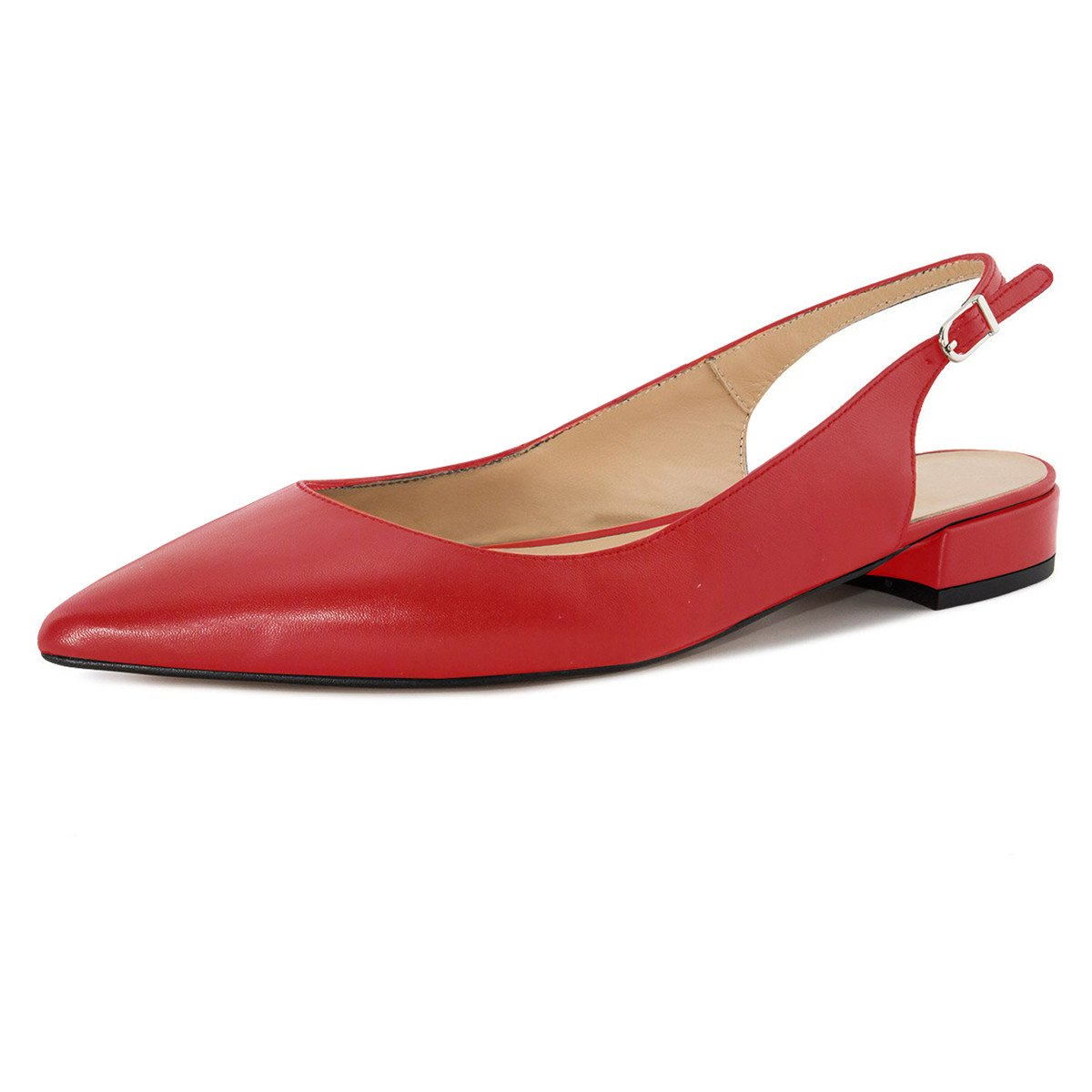 Soireelady Women's Slingback Low Heel Pumps Shoes Pointed Toe Ankle Strap 2cm Block Heel Summer Pumps Red US7.5