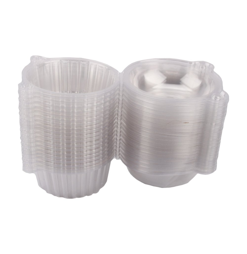 Yosoo Cake Boxes-100 Clear Plastic Single Cup Cake Boxes Holder Muffin Case Patty Container Cupcake Carriers Baking Cups