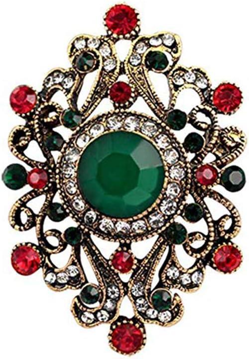 Demino Vintage Resin Colorful Flower Brooch Vintage rhinestone Pins Women Rhinestone Breastpin Necklace Suits Dress Accessories black