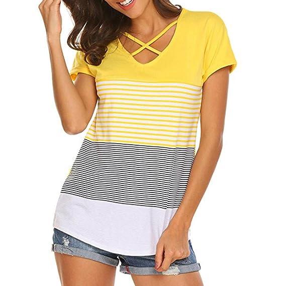 CICIYONER Camiseta Mujer, Stripe Splice Camiseta manga corta Casual Tops Blusa: Amazon.es: Ropa y accesorios