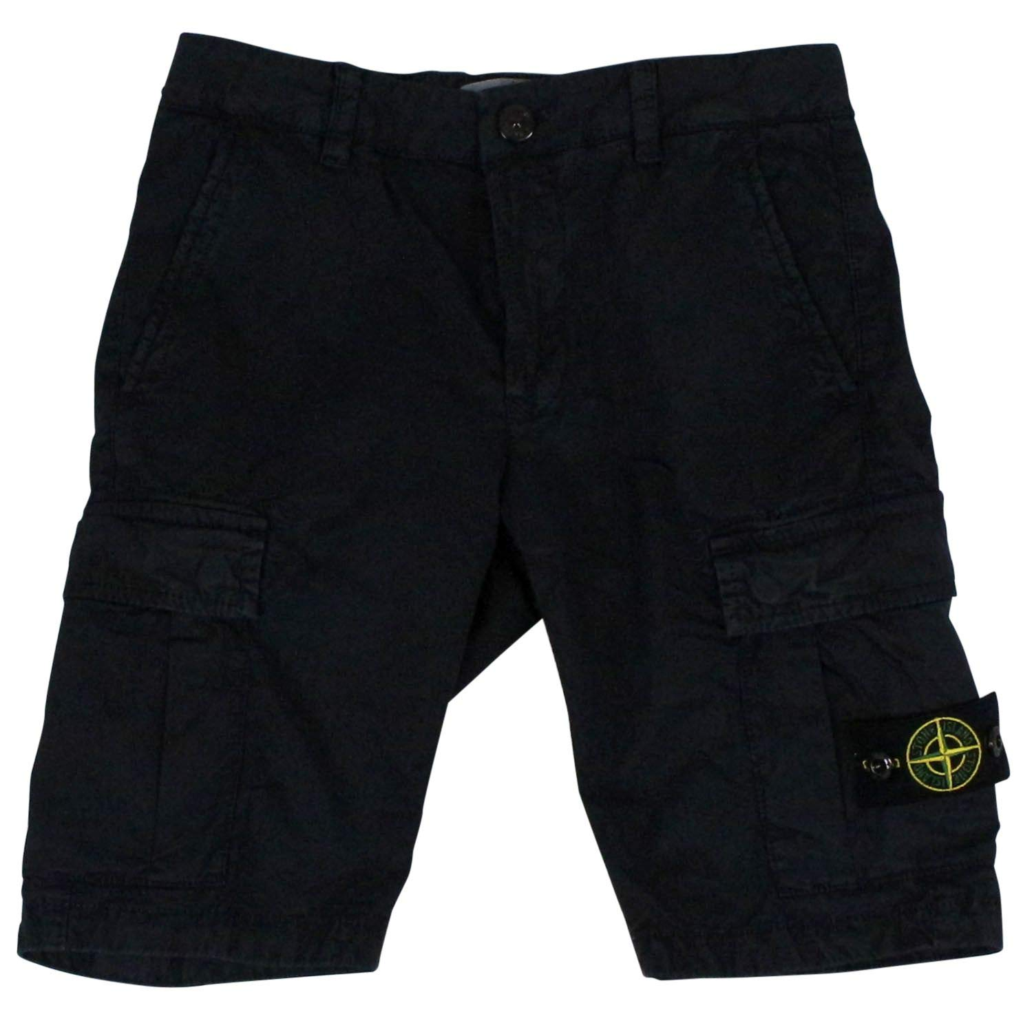 Stone Island Boys 7016L0909v0120 Blue Cotton Shorts