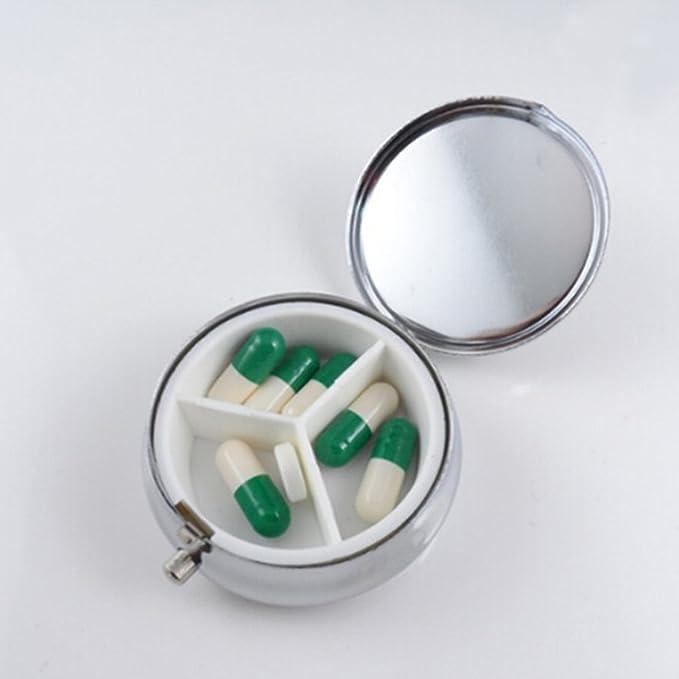 Cajas De Pastillas Metálicas, Tabletas De Almacenamiento De Pastillas Redondas De División Cajas De Joyas, Porta Pastillas Con 3 Compartimentos Para Viajes ...