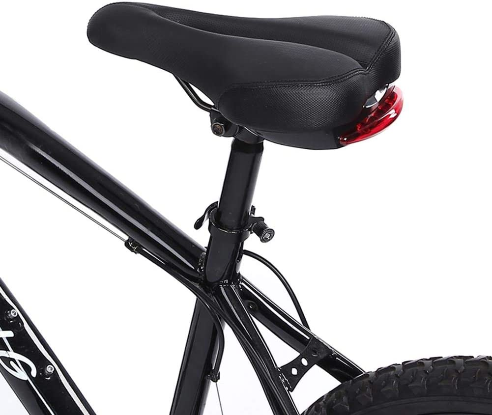 Alomejor Bike Saddle Mountain Bike Gel Saddle MTB Bicycle Cushion Waterproof Comfortable Bike Seat with Tail Light for Mountain Road Bikes