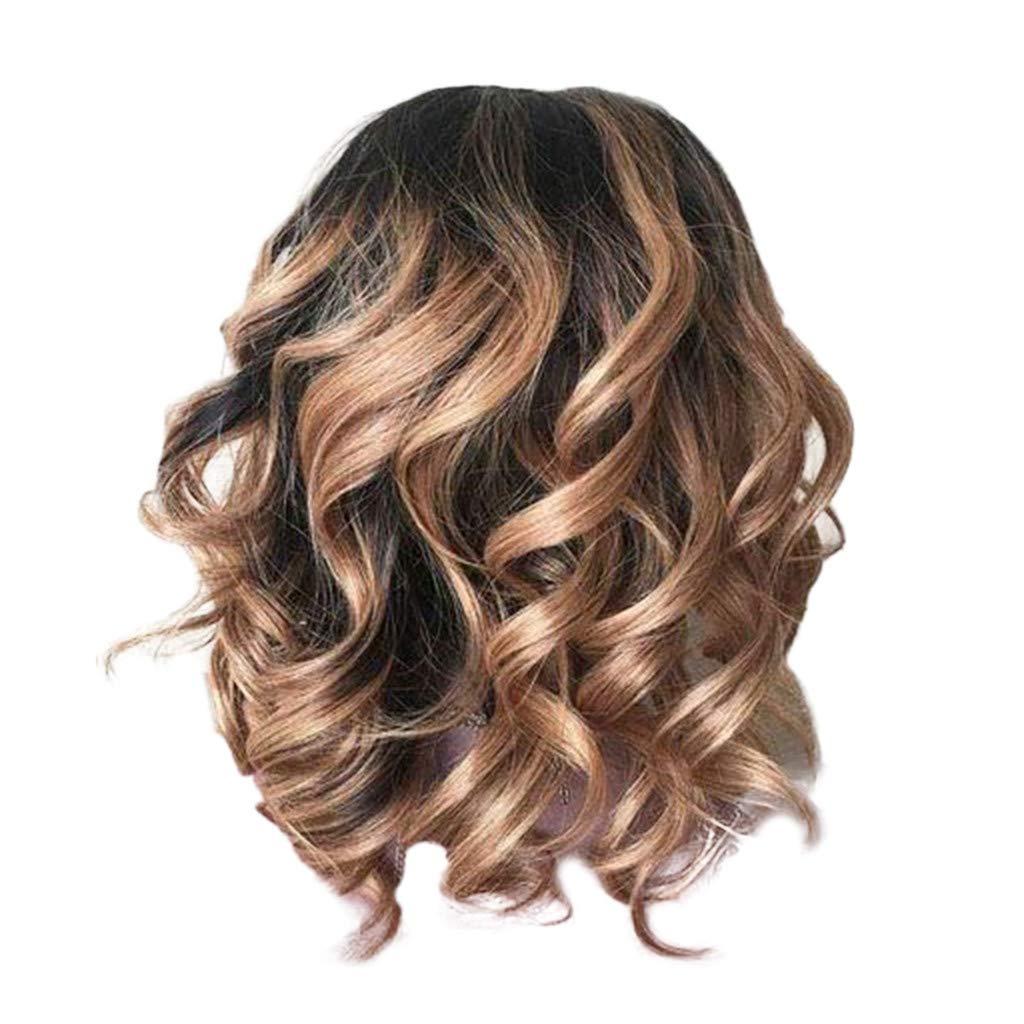 CIELLTE Perruque Femme Longue Bouclée Brésilien Perruque Marron Pleine Perruque Postiche Fibre Haute Température Cheveux Artificiels CIELLTE DIY