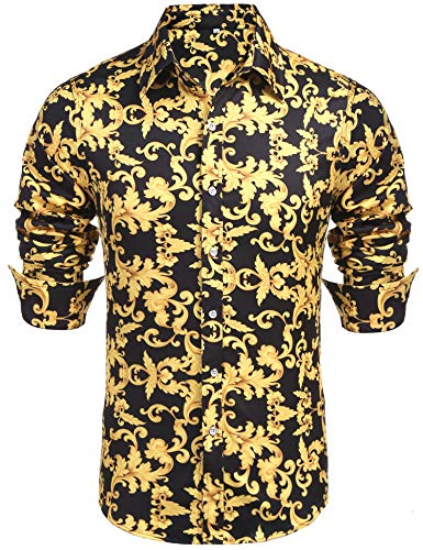 (Daupanzees Mens Long Sleeve Cotton Luxury Design Shows Slim Fit Hawaiian Tropical Party Daily Life Allover Print Dress Shirt (Gold)