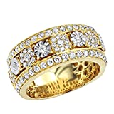 Unique Mens Diamond Wedding Band 14k Gold Anniversary Ring 2.25ctw (Yellow Gold, Size 10.5)