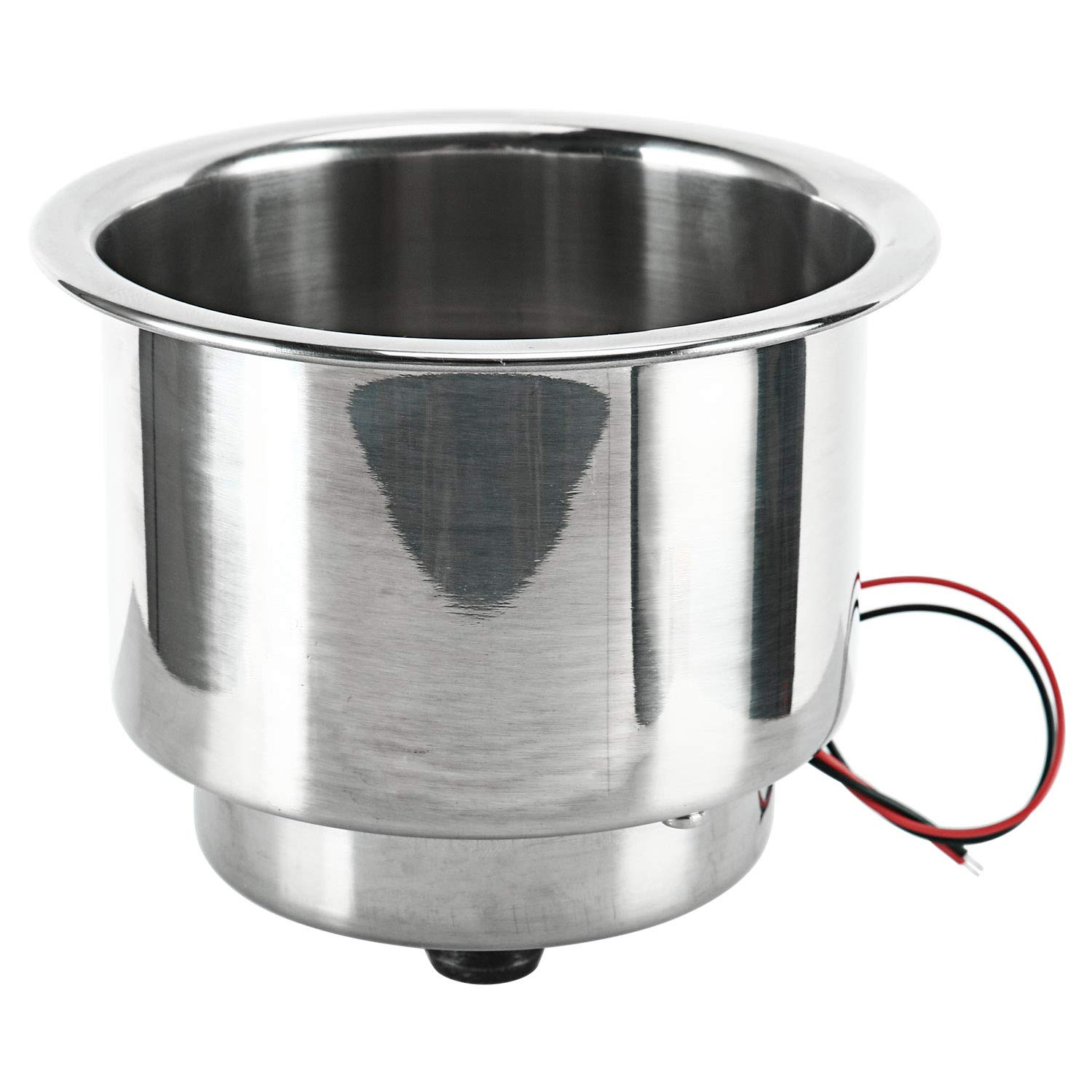 Amarine-made 2 Pieces of 3 Red LED Stainless Steel Cup Drink Holder with Drain Marine Boat Rv Camper Alfa Marine Co shanghai Ltd
