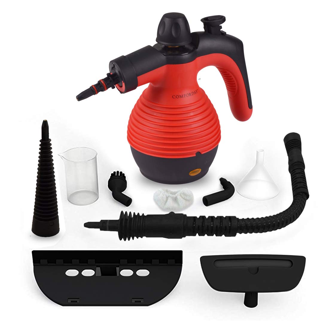 Comforday Steam Multi Purpose Handheld Cleaners High Pressure Steamer with 9-Piece Accessories, Perfect for Stain Removal, Carpet,Curtains, Car Seats,Floor,Window Cleaning, Red by Comforday