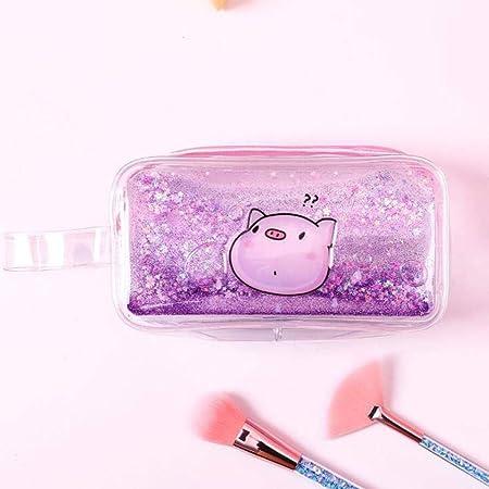 Caja de almacenamiento de escritorio escolar,Lindo estuche para lápices de arena movediza transparente, bolsa de almacenamiento de cosméticos de gran capacidad, púrpura,para maquillaje, papelería: Amazon.es: Hogar