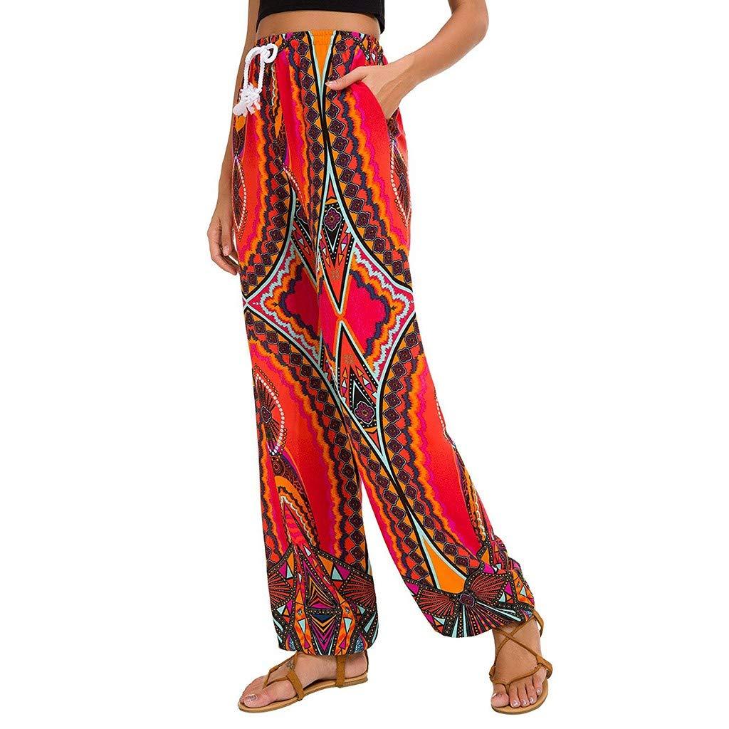 HJuyYuah Fashion Women Striped Print Casual Leggings Pants Ladies Wide Leg Pants Trousers